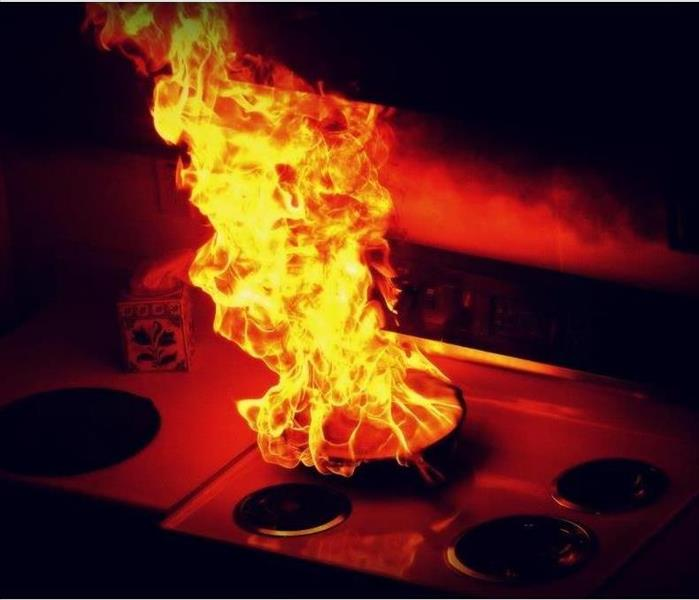 frying pan on fire on top of stove