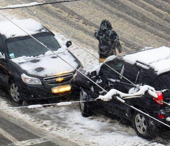 two cars in accident on icy interstate